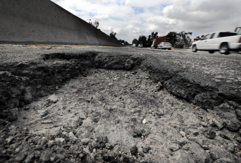 A pothole on an onramp to the 5 Freeway in Los Angeles