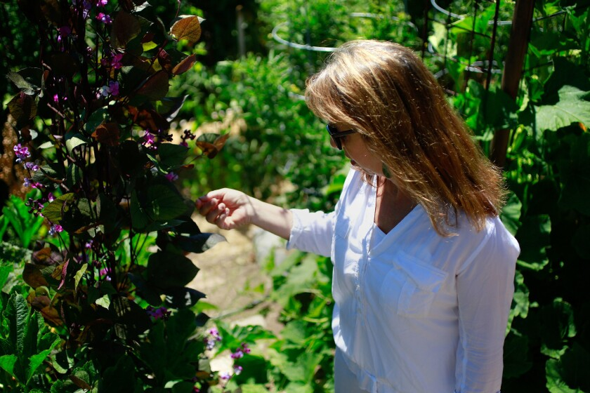 Trish Watlington, owner The Red Door, in the garden at her Mt. Helix home, which supplies some of the fruits and vegetables for her Mission Hills restaurant.