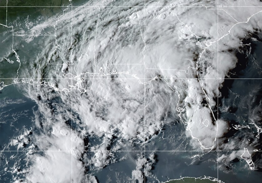 Satellite image showing Tropical Storm Mindy