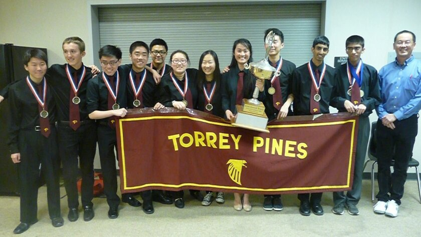 Torrey Pines High School won the North County Academic League varsity championship recently with a victory over rival Canyon Crest Academy in the final match of the league playoffs. Torrey Pines will represent North County in the San Diego County Academic League Championships on April 23. Pictured, L-R: Michael Lee, Thomas Freedman, Eric Tang, Eric Chen, Alex Jen, Jacqueline Yau, Jessica Choi, Emily Sun, Kevin Jiang, Vasu Vikram, Varun Bhave, and Coach Andrew Kahng.