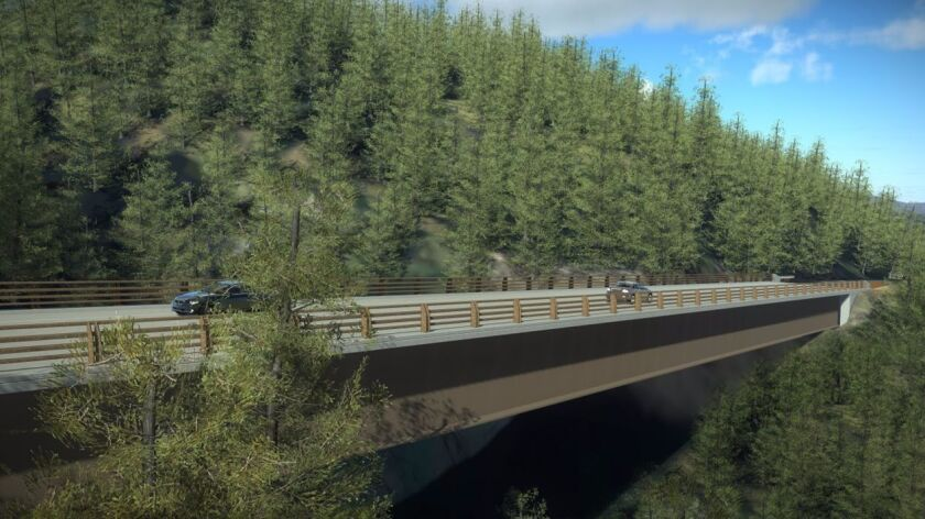 The replacement Pfeiffer Creek Bridge lacks columns that had failed in the prior bridge, which was d