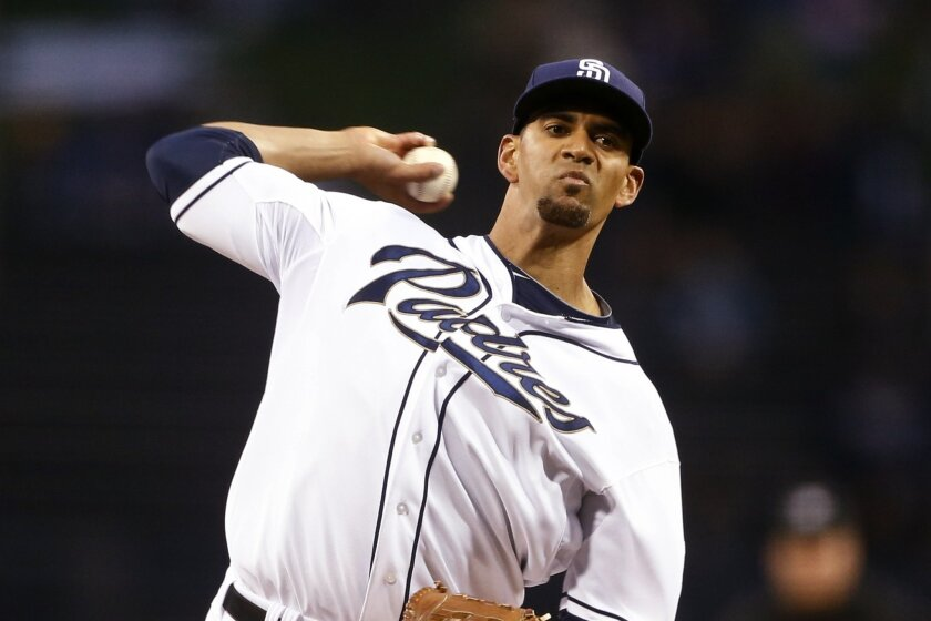 San Diego Padres starterTyson Ross pitches against the Los Angeles Dodgers in the first innning of a baseball game Wednesday, April 2, 2014, in San Diego.  Ross surrendered three runs in the first inning. (AP Photo/Lenny Ignelzi)