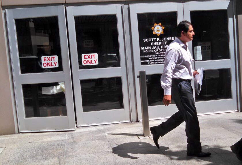 Democratic state Sen. Ben Hueso walks out of the Sacramento County Jail in Sacramento, Calif., Friday, Aug. 22, 2014.  Hueso was booked into the Sacramento County Jail early Friday morning after being arrested on suspicion of drunken driving and driving with a blood alcohol content of 0.08 percent