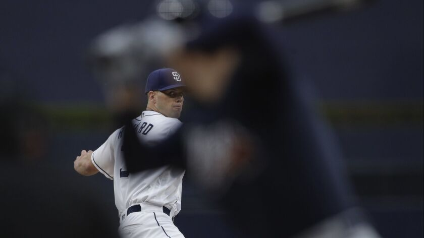 San Diego Padres starting pitcher Clayton Richard works against an Atlanta Braves batter during the