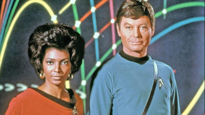 "In this photograph, part of the original cast of ""Star Trek,"" includes Nichelle Nichols, top left, D"