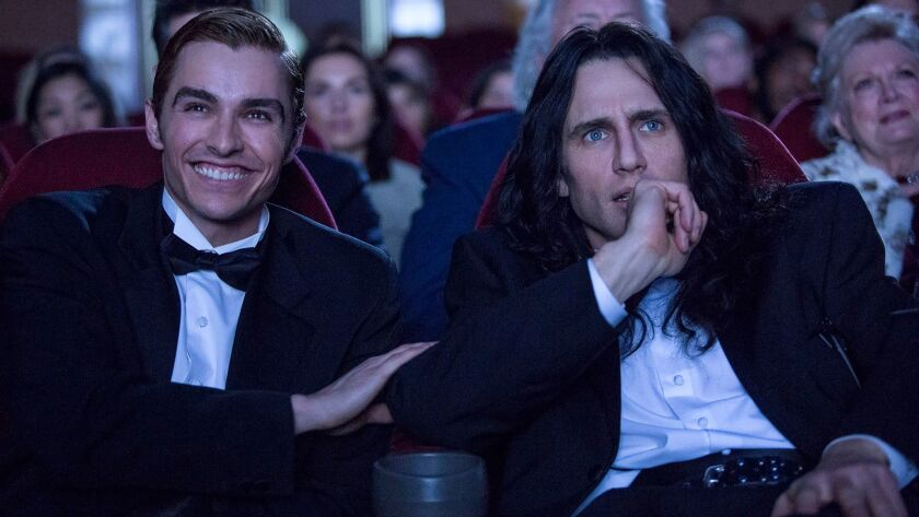 "Dave Franco, left and James Franco in a scene from ""The Disaster Artist."""