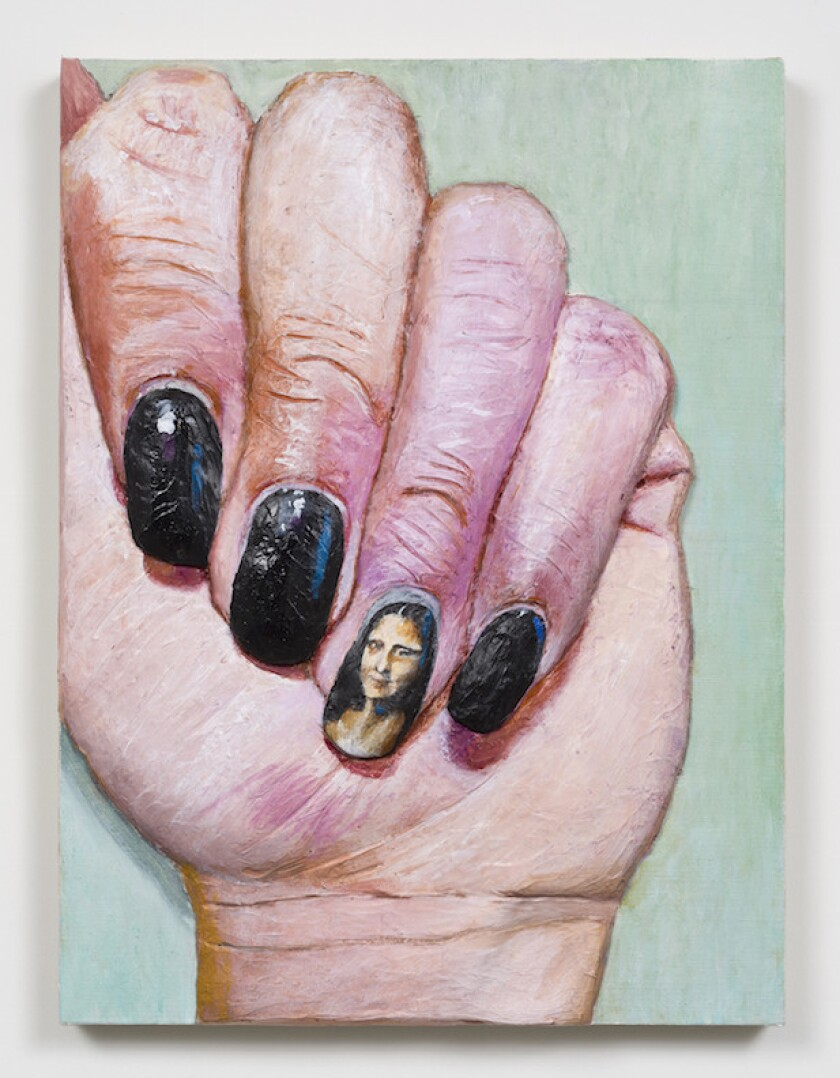 "Gina Beavers, ""Mona Lisa nail,"" acrylic on linen on panel, 2015."