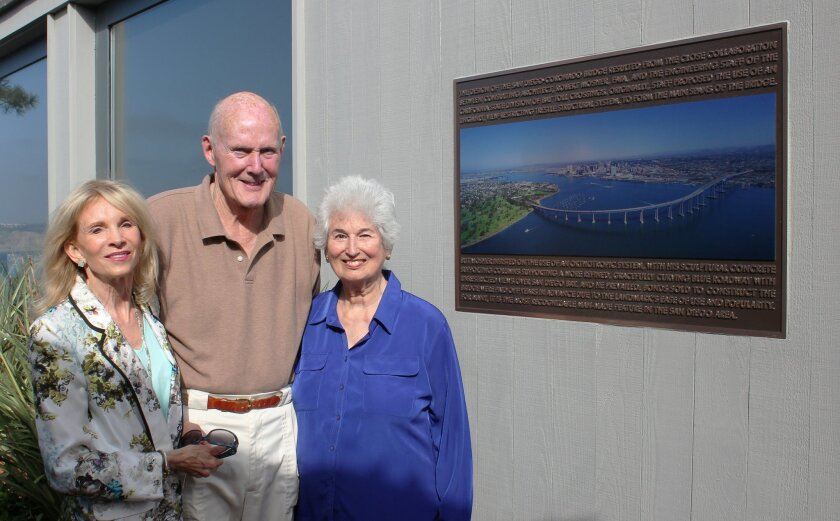 Janet and Don Allison, with Joany Mosher, pose by the plaque Allison had dedicated last week to Joany's late husband, famed architect Bob Mosher, who designed the Coronado-Bay Bridge.