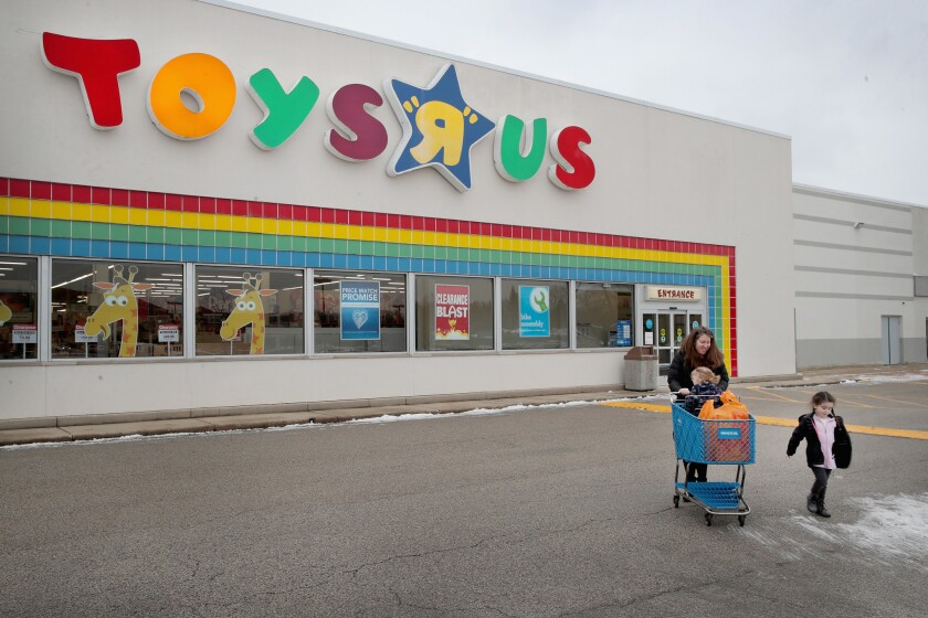Customers shop at a Toys R Us store on Jan. 24, 2018, in Highland Park, Ill.