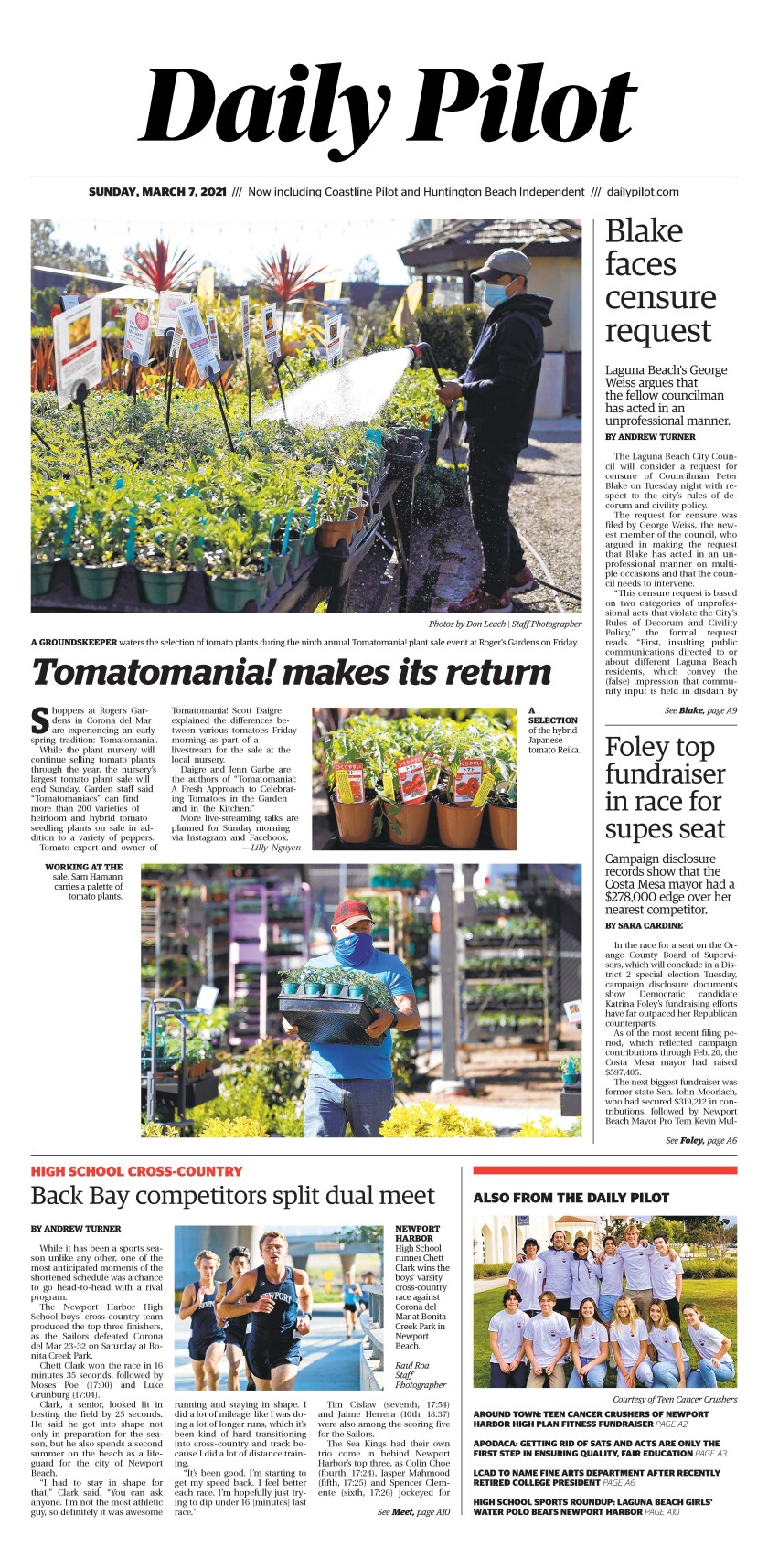 Front page of Daily Pilot e-newspaper for Sunday, March 7, 2021.