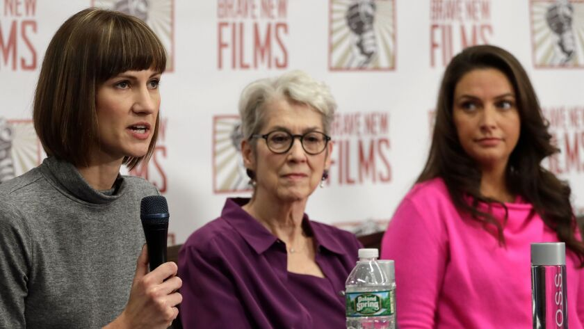 Rachel Crooks, from left, Jessica Leeds and Samantha Holvey attend a news conference on Monday in New York to discuss their accusations of sexual misconduct against President Trump.