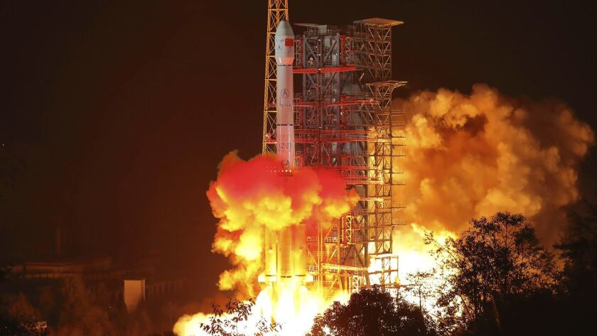 In this photo released by Xinhua News Agency, the Chang'e 4 lunar probe launches from the the Xichan