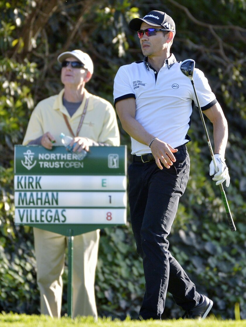 Camilo Villegas watches his shot on the eighth tee during the first round of the Northern Trust Open golf tournament, Thursday, Feb. 18, 2016 in Pacific Palisades, Calif. (John McCoy/Los Angeles Daily News via AP)  NO SALES; MAGS OUT; HILLS OUT, LOS ANGELES TIMES OUT; VENTURA COUNTY STAR OUT ANTELO