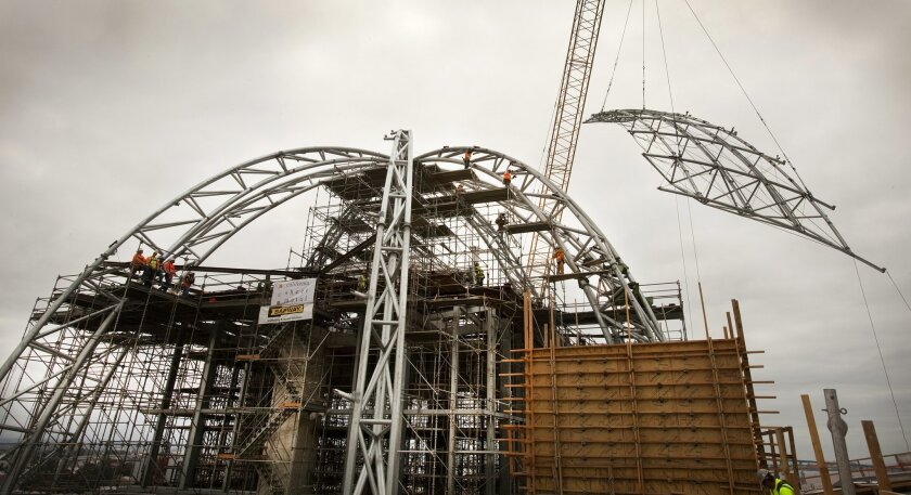 The central library dome under construction in 2012.