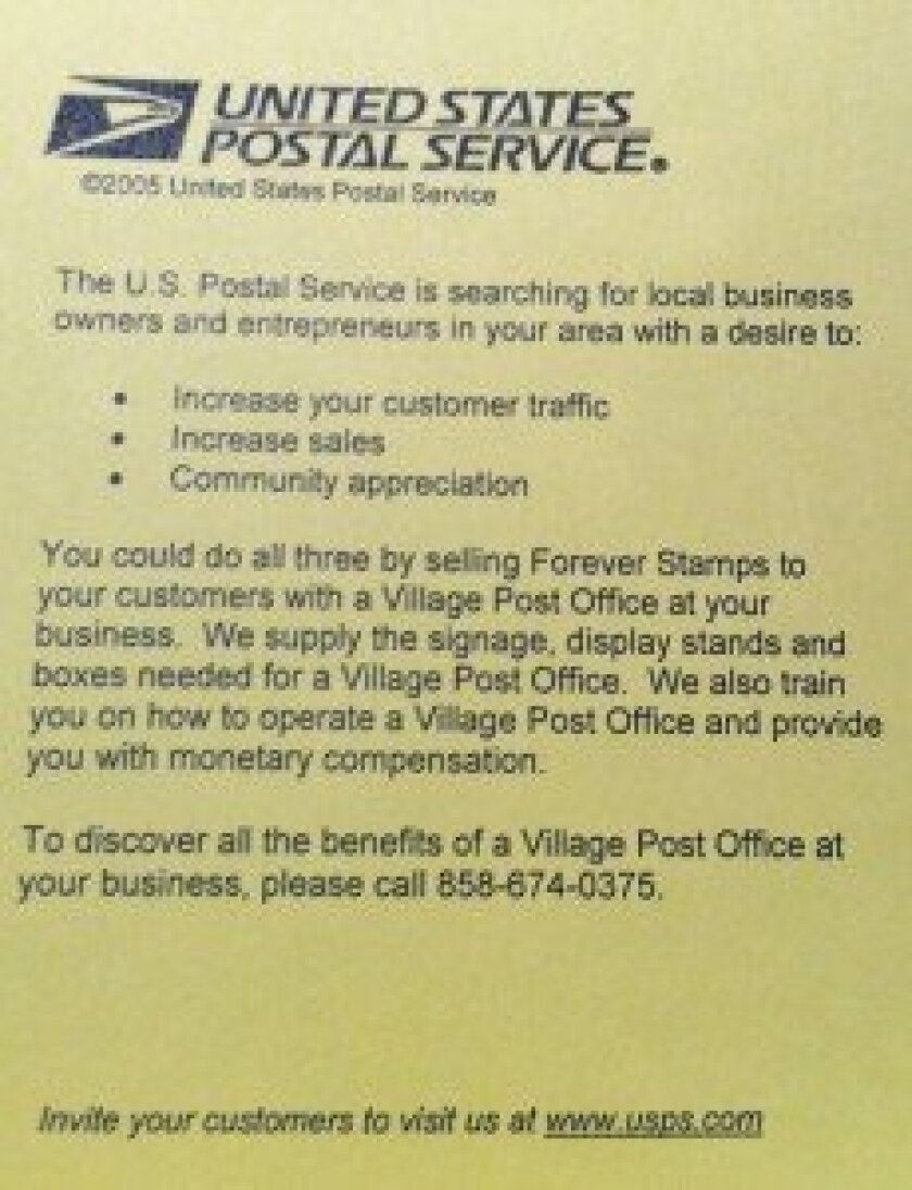 The United States Postal Service mailed this notice to la Jolla merchants earlier this month.