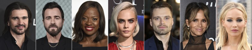 """In this combination photo of celebrities with birthdays from Aug. 9-15, Juanes, from left, arrives at the Latin Recording Academy Person of the Year gala in his honor on Nov. 13, 2019, in Las Vegas, Justin Theroux attends the launch of New Tiffany and Co. Men's Collection on Oct. 11, 2019, in Los Angeles, Viola Davis attends the Disney ABC Television Critics Association Summer Press Tour on Aug. 6, 2017, in Beverly Hills, Calif., Viola Davis attends the Disney ABC Television Critics Association Summer Press Tour on Aug. 6, 2017, in Beverly Hills, Calif., Cara Delevingne attends the STX Films The State of the Industry: Past, Present and Future presentation during CinemaCon on March 28, 2017, in Las Vegas, Sebastian Stan attends the """"Avengers: Infinity War"""" fan event in London on April 8, 2018, Halle Berry attends the world premiere of """"John Wick: Chapter 3 - Parabellum"""" on May 9, 2019, in New York and Jennifer Lawrence attends the photo call for """"Red Sparrow'"""" in London on Feb. 20, 2018. (AP Photo)"""