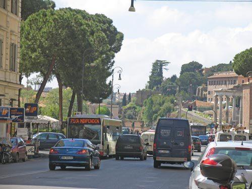 Rome: Via Cavour at Via dei Fori Imperiali