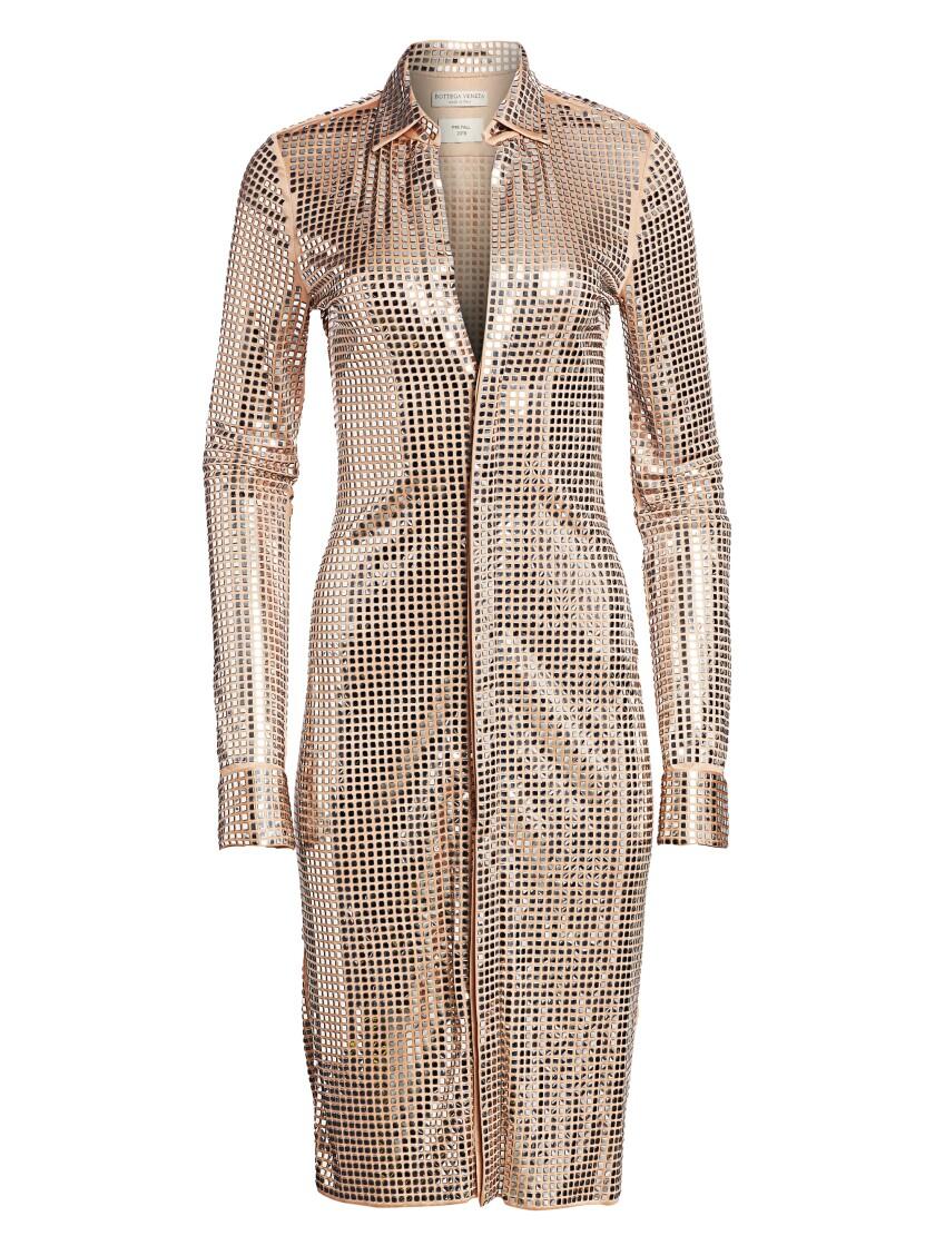 A mirror-embellished jersey shirt dress from Bottega Veneta.