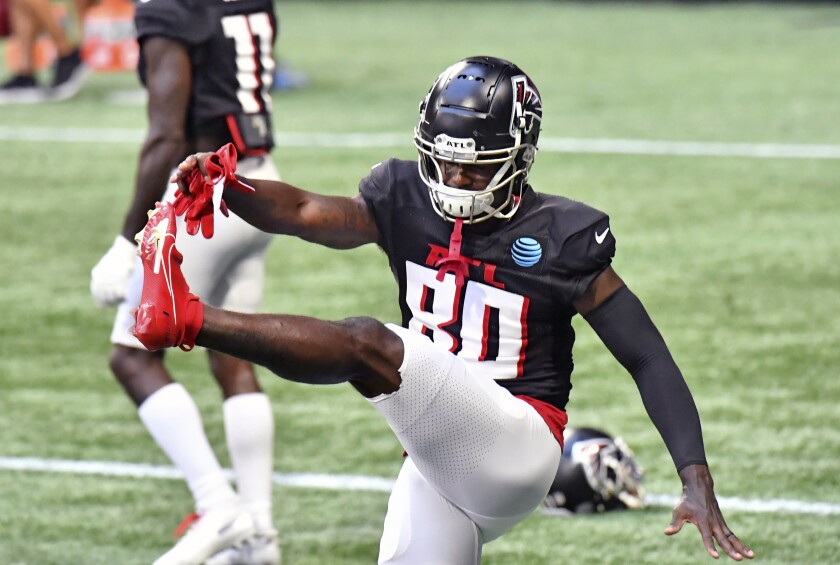 Atlanta Falcons wide receiver Laquon Treadwell (80) gets loose for a scrimmage during an NFL football training camp practice Thursday, Sept. 3, 2020, in Atlanta. (Hyosub Shin/Atlanta Journal-Constitution via AP)