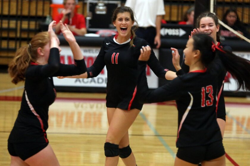 Canyon Crest players cheer winning this point, but the Ravens ended up falling to San Juan Capistrano Saddleback Valley Christian in the SoCal Regional Division III semifinals.