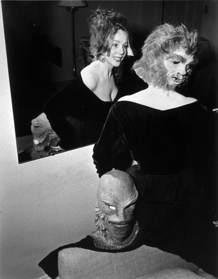 Milicent wearing one of the masks she designed for Abbott and Costello Meet Dr. Jekyll and Mr. Hyde