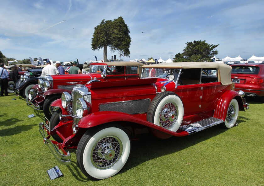 """A Duesenberg Model J is displayed at the La Jolla Concours d""""Elegance classic car show in 2019."""