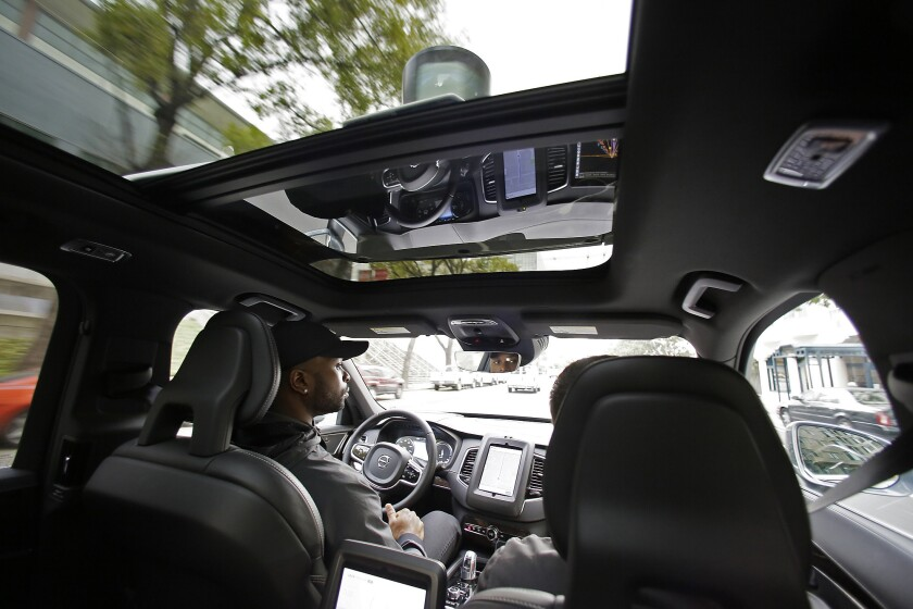 """Self-driving vehicles in Arizona operate with the """"same registration requirements as any other vehicle,"""" according to the Arizona Department of Transportation. Above, an Uber self-driving car during a test drive in San Francisco this month."""