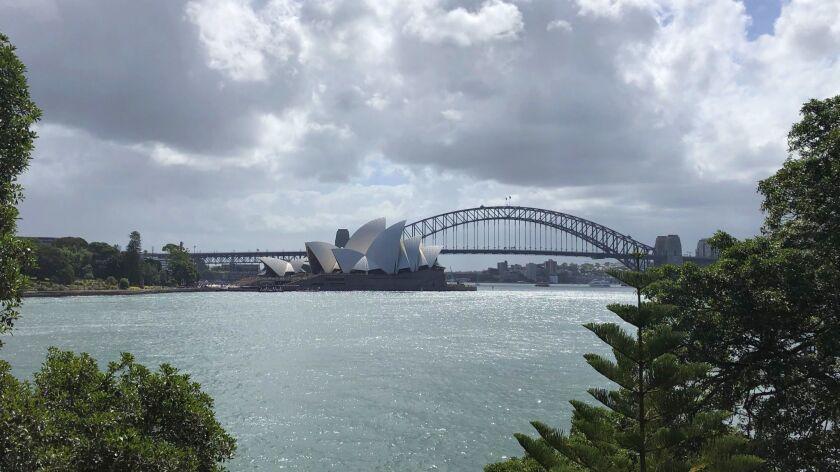 AUSTRALIA-- Sydney Bridge from across harbor.