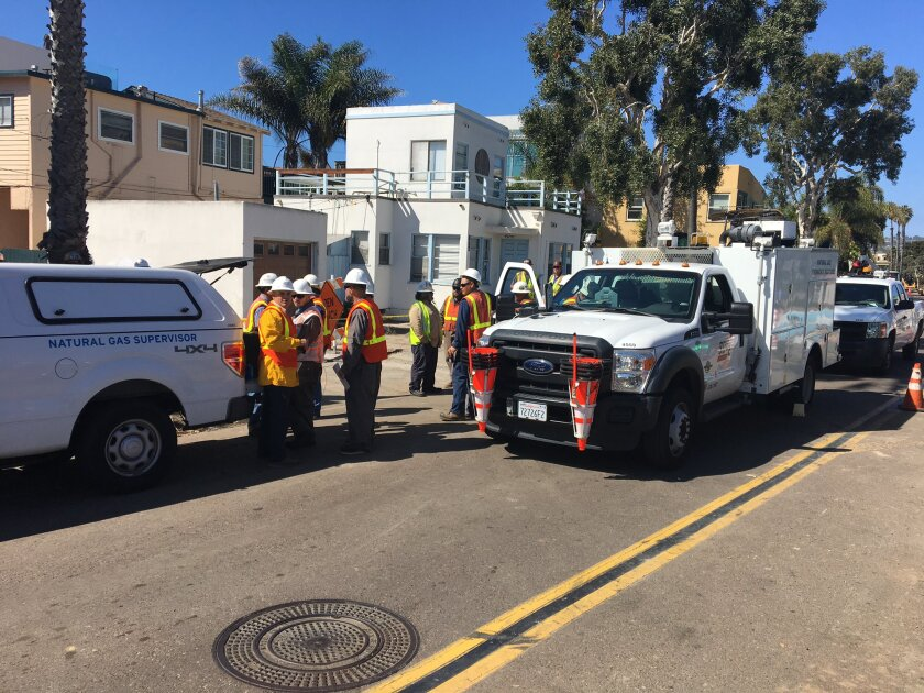 Crews worked Wednesday afternoon to fix a broken gas line on Strandaway near Mission Boulevard in the Mission Beach area just south of Pacific Beach.