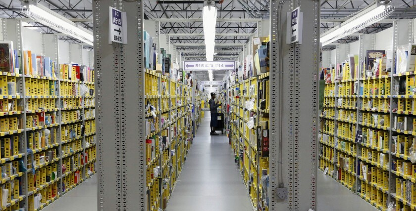 Books at an Amazon warehouse. The retailer is in a dispute with publisher Hachette.
