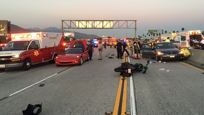 An accident on the 210 Freeway involving six motorcycles and a BMW car may have been caused deliberately by a black pickup, according to the CHP.