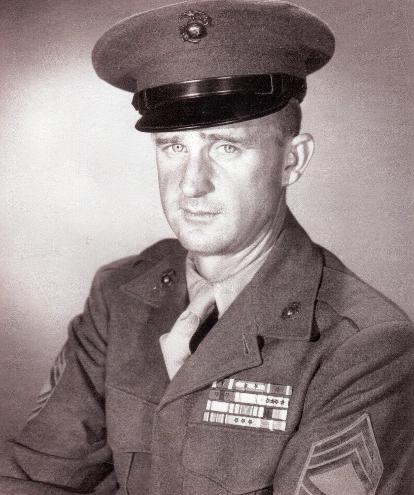 Marine First Sgt. John Farritor shown in a photograph taking after his service in the Korean War, in June 1951. The Vista resident, who also served in World War II, turned 100 on July 9, 2019.