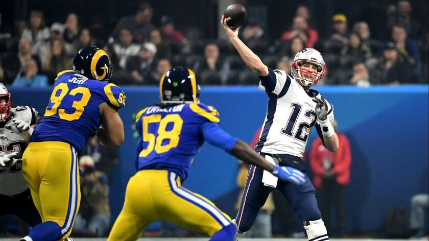 New England Patriots quarterback Tom Brady throws a pass against the Rams during Super Bowl LIII at Mercedes Benz Stadium in Atlanta.