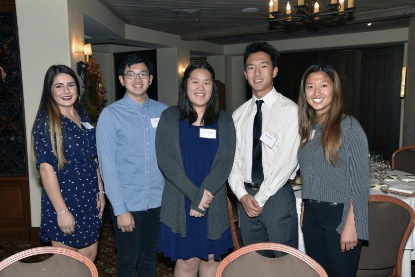 Scholarship recipient Jasmine Canedo, scholarship recipient Winston Lau, scholarship recipient Sharon Jahng, Thomas Kim, scholarship recipient Jessica Kim