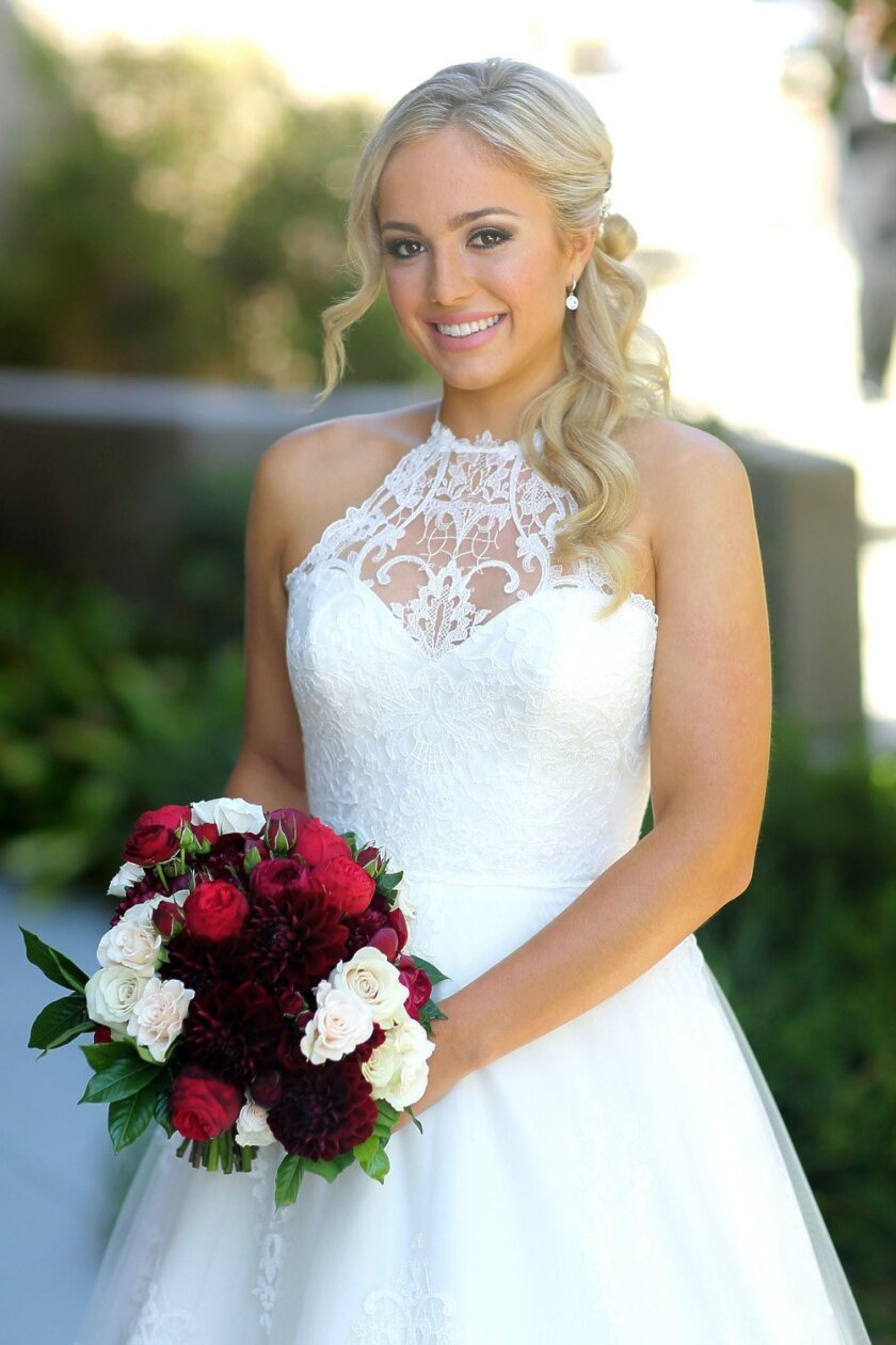Bride Raquel Pedraza just before the start of her wedding to Taylor Fritz at the Village Church in RSF.  Photo by Jon Clark