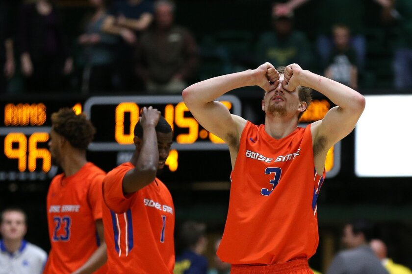 Boise State forward Anthony Drmic reacts after his team blows an opportunity to tie the game during Colorado State's 97-93 double overtime win over the Boise State Broncos on Wednesday, Feb. 10, 2016, at Moby Arena in Fort Collins, Colo. The Rams had won three of their last five games coming into t
