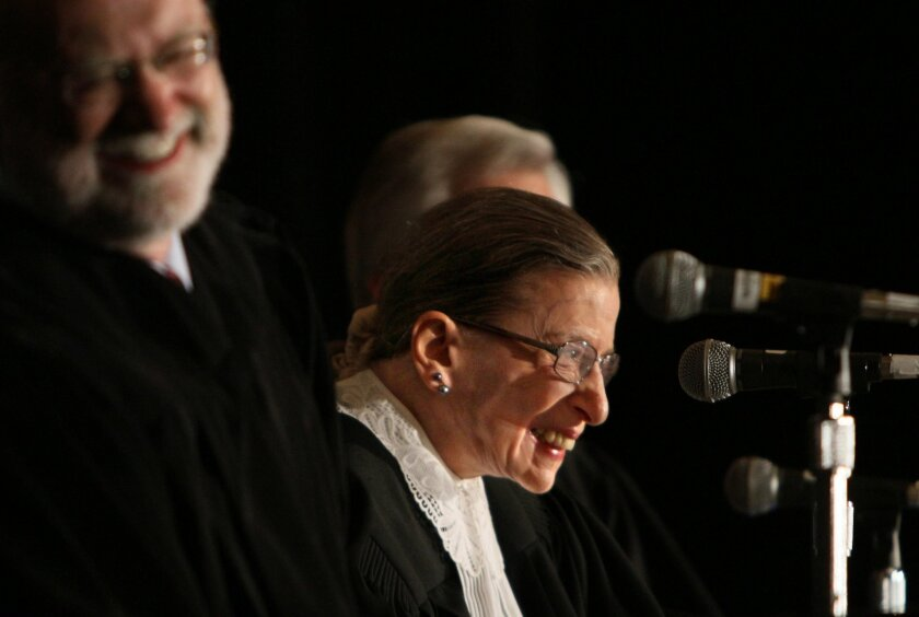 Supreme Court Justice Ruth Bader Ginsburg, taking part in the re-creation of the 1872 case of Bradwell v. Illinois