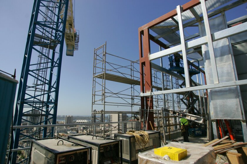 Construction jobs rose in February in California, while slipping a bit in San Diego.