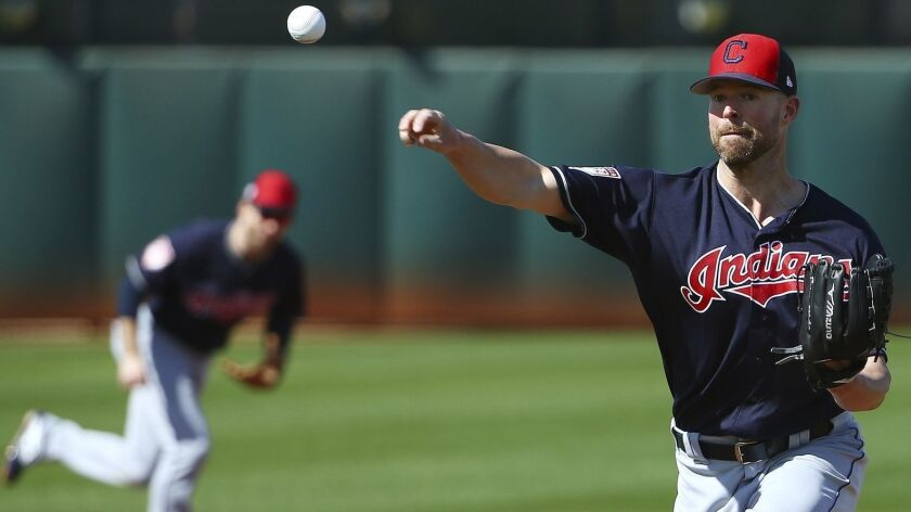 Cleveland Indians starting pitcher Corey Kluber throws a pitch at the Indians spring training baseba