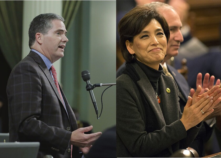 Assemblyman David Hadley (R-Manhattan Beach), left, and Assemblywoman Young Kim (R-Fullerton) are facing difficult races in swing districts with opponents who are trying to tie them to Donald Trump.