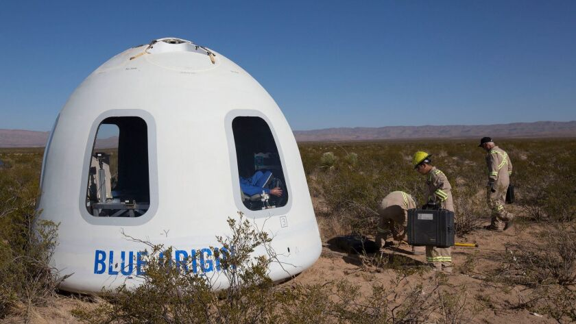 This photo provided by Blue Origin shows the New Shepard Crew Capsule 2.0 after landing in west Texa
