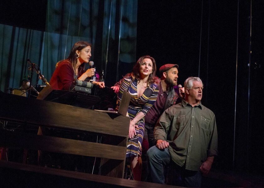 "Korrie Paliotto, Alice Ripley, Kürt Norby and Gregory Jbara (left to right) in San Diego Rep's ""Everybody's Talkin': The Music of Harry Nilsson."""