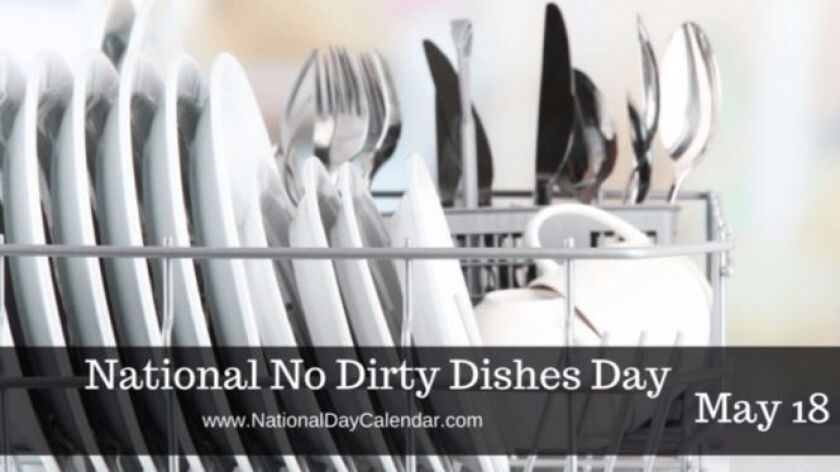 """May 18 is """"National No Dirty Dishes Day,"""" so celebrate by using paper plates or dining on finger foo"""