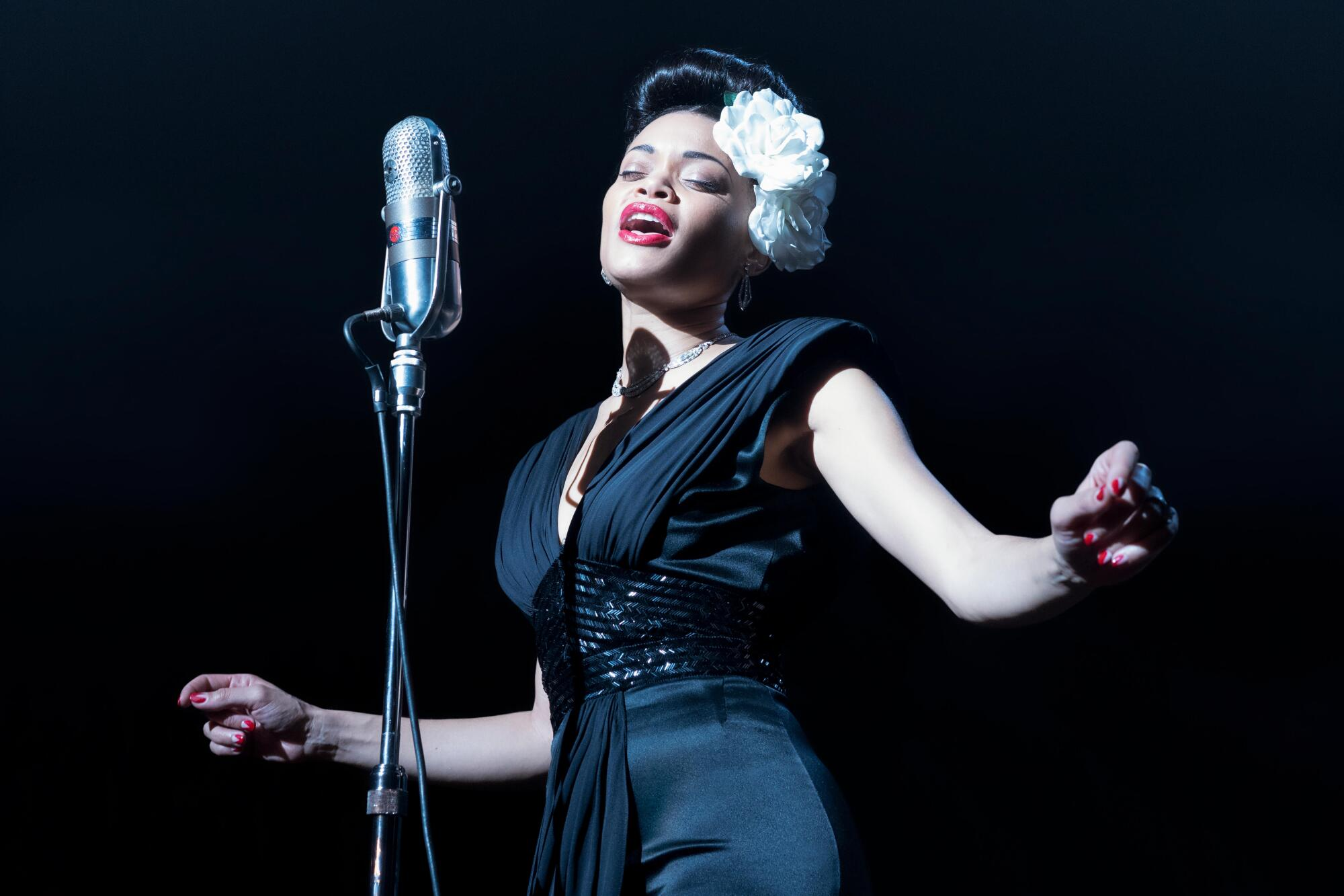 "Andra Day in a close re-creation of a Billie Holiday gown in ""The United States vs. Billie Holiday."""