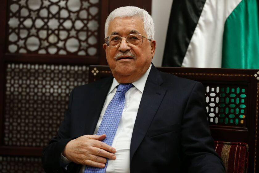 Palestinian Authority President Mahmoud Abbas meets with the Norwegian foreign minister in the West Bank city of Ramallah on Sept. 8.