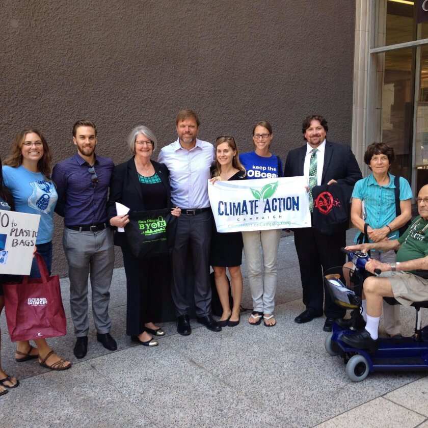 San Diego City Council President Sherri Lightner and SD Surfrider Foundation held a rally for the ordinance on July 14.