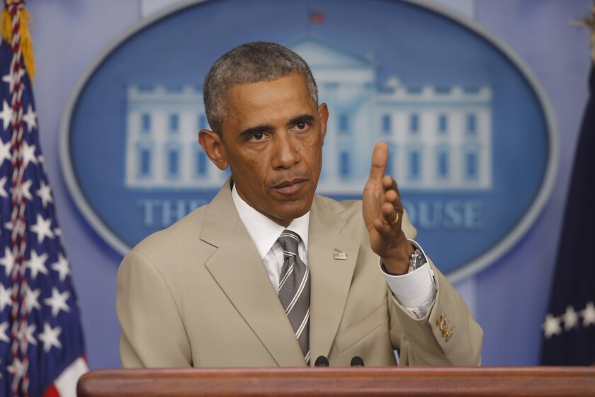 President Barack Obama speaks in the James Brady Press Briefing Room at the White House in Washington on Thursday.