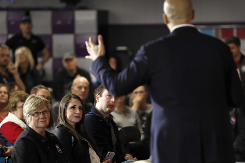 Cory Booker speaks to Iowans at the Adel Family Fun Center.