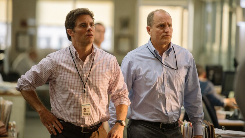 "(L-R) - James Marsden and Woody Harrelson in a scene from ""Shock and Awe."" Credit: KYLE BONOKAPLAN /"