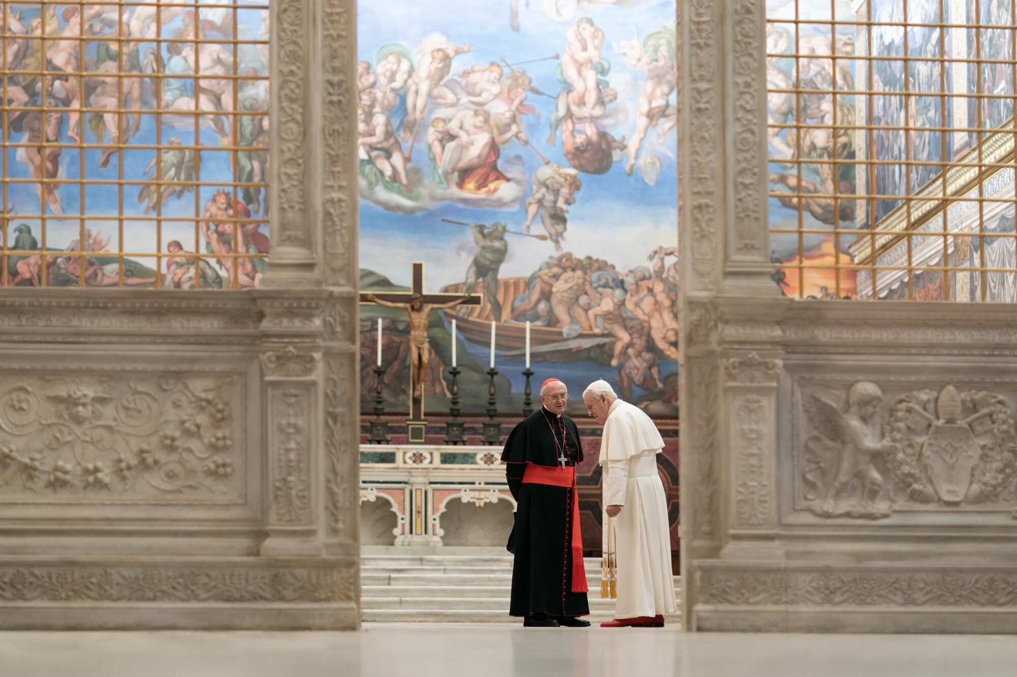 """A major scene in Netflix's """"The Two Popes"""" required a reconstruction of the Sistine Chapel."""